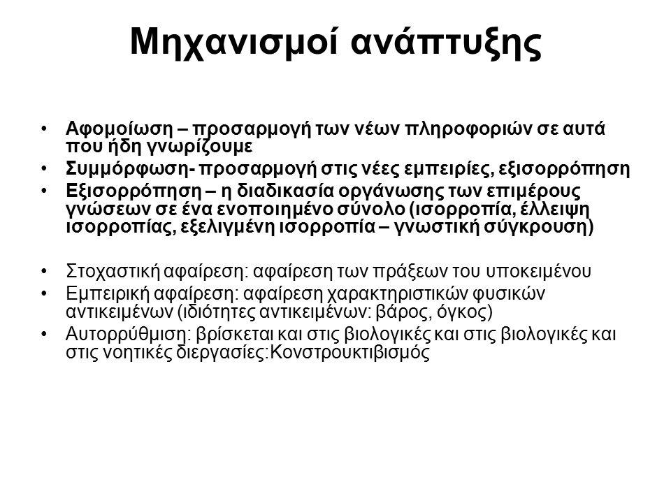 Τα στάδια της ανάπτυξης της σκέψης σύμφωνα με τη θεωρία του Jean Piaget ΣΤΑΔΙΟΧΑΡΑΚΤΗΡΙΣΜΟΣ 1.