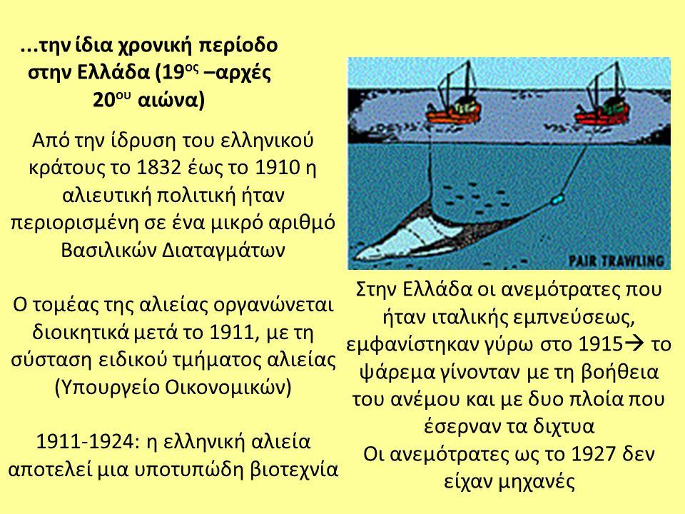 Από την ίδρυση του ελληνικού κράτους το 1832 έως το 1910 η αλιευτική πολιτική ήταν περιορισμένη σε ένα μικρό αριθμό Βασιλικών Διαταγμάτων Ο τομέας της