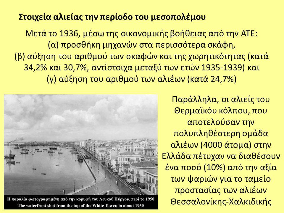 Μετά το 1936, μέσω της οικονομικής βοήθειας από την ΑΤΕ: (α) προσθήκη μηχανών στα περισσότερα σκάφη, (β) αύξηση του αριθμού των σκαφών και της χωρητικ