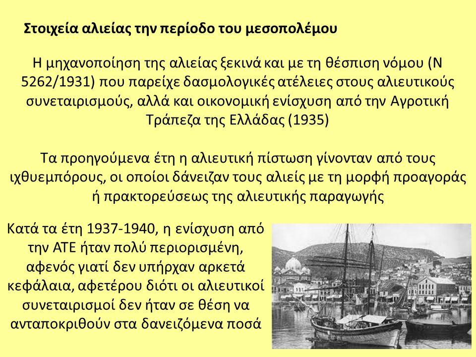 Η μηχανοποίηση της αλιείας ξεκινά και με τη θέσπιση νόμου (Ν 5262/1931) που παρείχε δασμολογικές ατέλειες στους αλιευτικούς συνεταιρισμούς, αλλά και ο