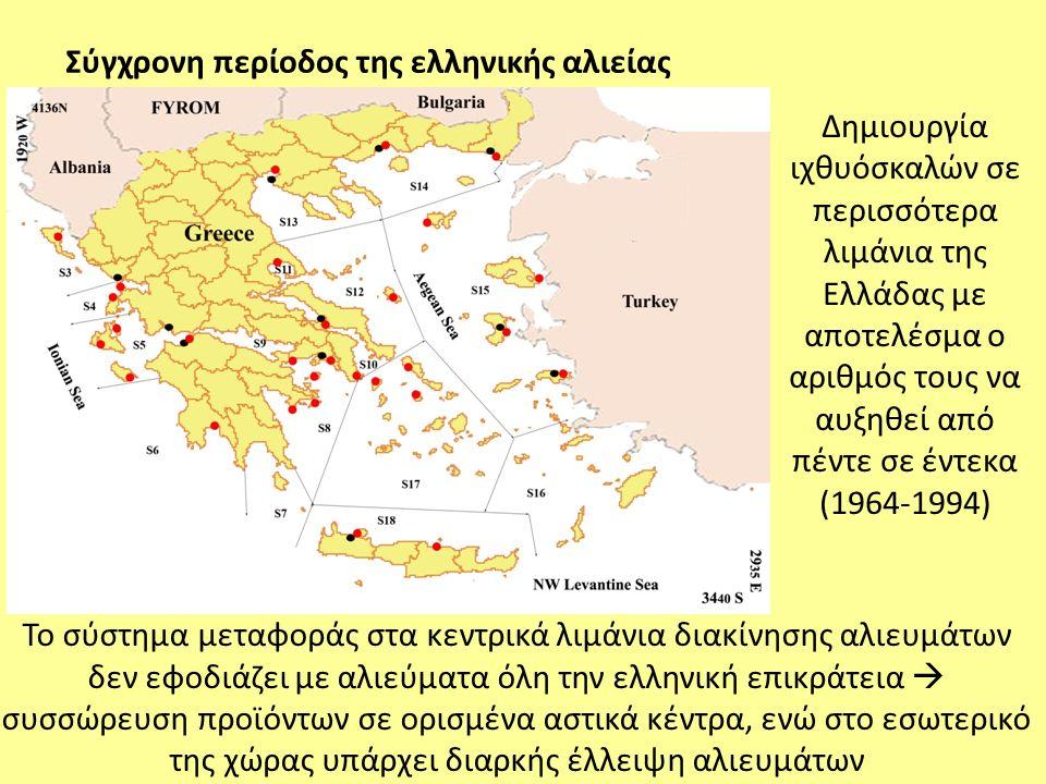 Δημιουργία ιχθυόσκαλών σε περισσότερα λιμάνια της Ελλάδας με αποτελέσμα ο αριθμός τους να αυξηθεί από πέντε σε έντεκα (1964-1994) Το σύστημα μεταφοράς