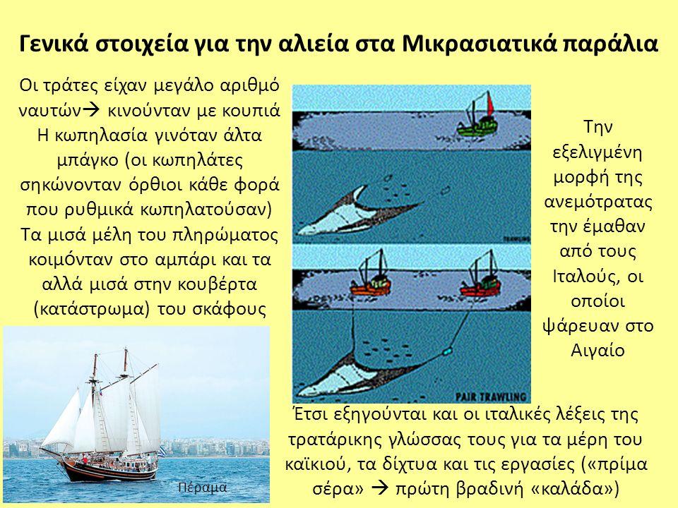 Η αλιεία συχνά πραγματοποιούνταν σε γειτνίαση με τα σημαντικότερα λιμάνια και σπάνια εκτείνονταν: (α) σε πιο απομακρυσμένες περιοχές και βάθη μεγαλύτερα των 100 m και των 200 m (μετά το 1928) και (β) σε περισσότερες από 150-170 ημέρες αλιείας το χρόνο σε σύγκριση με τις περίπου 240 ημέρες το χρόνο (μέσα δεκαετίας 1990) Ένα σημαντικό ποσοστό των αλιευμάτων δεν έφθανε στις ιχθυαγορές και απορρίπτονταν (περίπου 8%), λόγω της απουσίας ενός οργανωμένου διχτύου διανομής και ιχθυοσκαλών, καθώς του μικρού αριθμού μεταποιητικών μονάδων Στοιχεία αλιείας την περίοδο του μεσοπολέμου