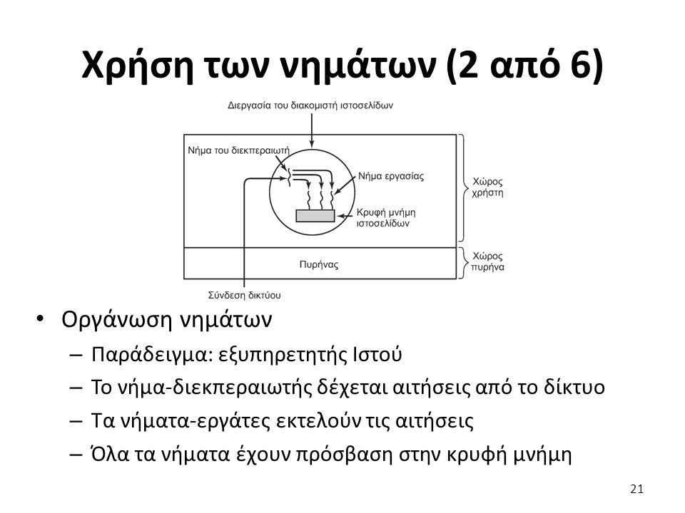 Χρήση των νημάτων (2 από 6) Οργάνωση νημάτων – Παράδειγμα: εξυπηρετητής Ιστού – Το νήμα-διεκπεραιωτής δέχεται αιτήσεις από το δίκτυο – Τα νήματα-εργάτ