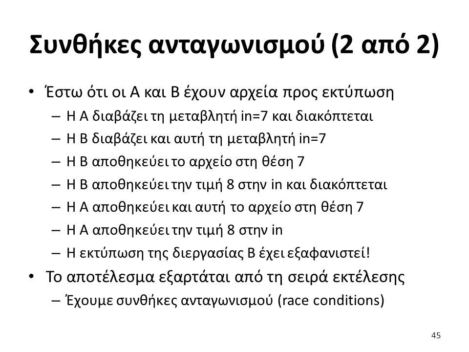 Συνθήκες ανταγωνισμού (2 από 2) Έστω ότι οι Α και Β έχουν αρχεία προς εκτύπωση – Η Α διαβάζει τη μεταβλητή in=7 και διακόπτεται – Η Β διαβάζει και αυτ