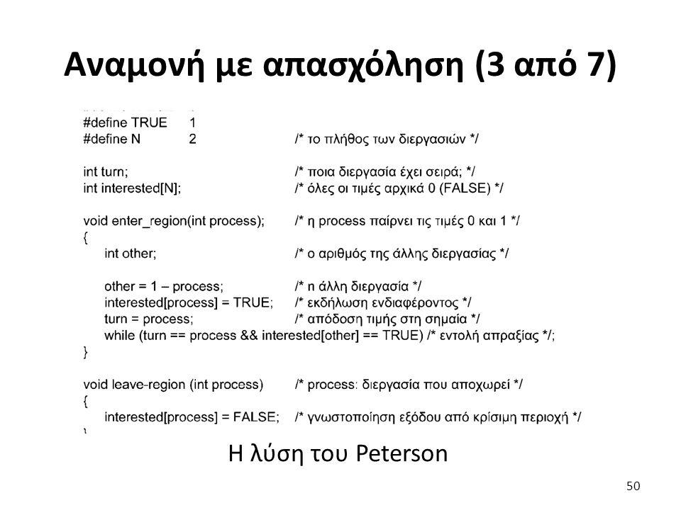 Αναμονή με απασχόληση (3 από 7) Η λύση του Peterson 50