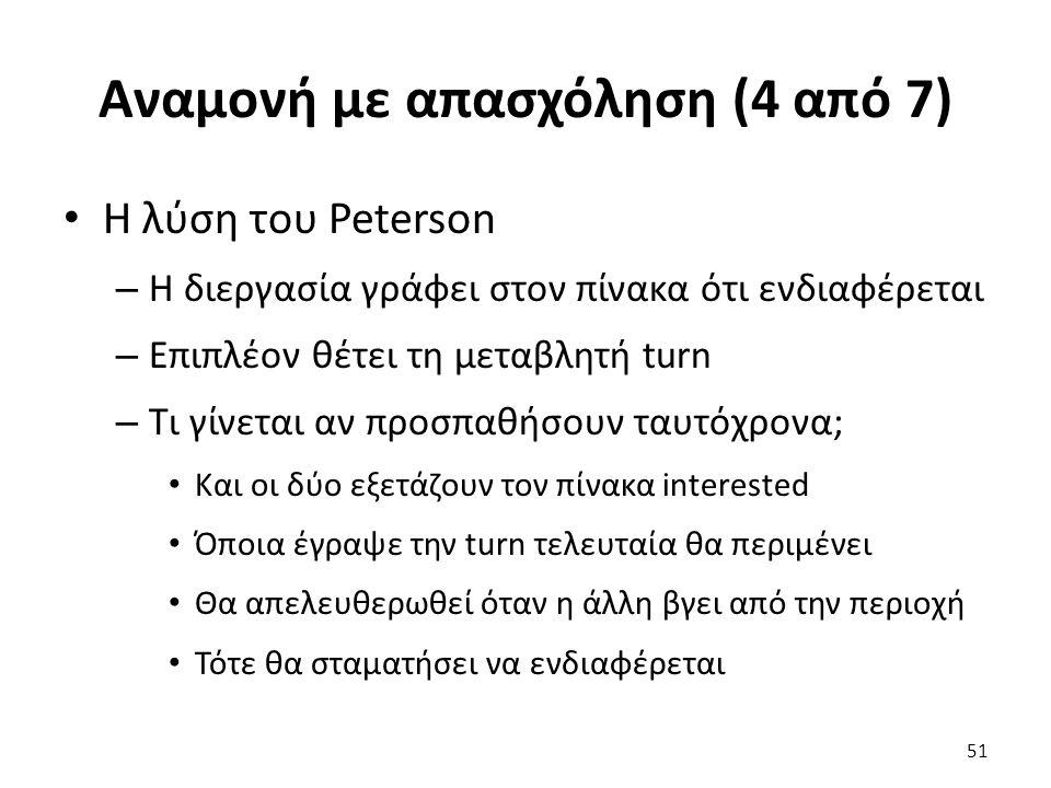 Αναμονή με απασχόληση (4 από 7) Η λύση του Peterson – Η διεργασία γράφει στον πίνακα ότι ενδιαφέρεται – Επιπλέον θέτει τη μεταβλητή turn – Τι γίνεται
