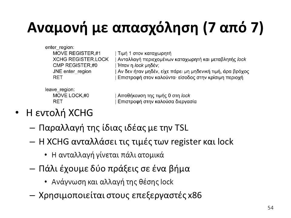 Αναμονή με απασχόληση (7 από 7) Η εντολή XCHG – Παραλλαγή της ίδιας ιδέας με την TSL – Η XCHG ανταλλάσει τις τιμές των register και lock Η ανταλλαγή γ