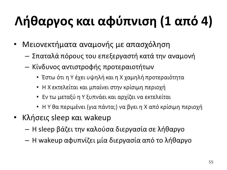 Λήθαργος και αφύπνιση (1 από 4) Μειονεκτήματα αναμονής με απασχόληση – Σπαταλά πόρους του επεξεργαστή κατά την αναμονή – Κίνδυνος αντιστροφής προτεραι