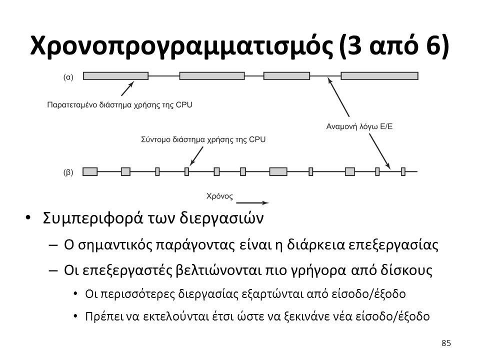 Χρονοπρογραμματισμός (3 από 6) Συμπεριφορά των διεργασιών – Ο σημαντικός παράγοντας είναι η διάρκεια επεξεργασίας – Οι επεξεργαστές βελτιώνονται πιο γ