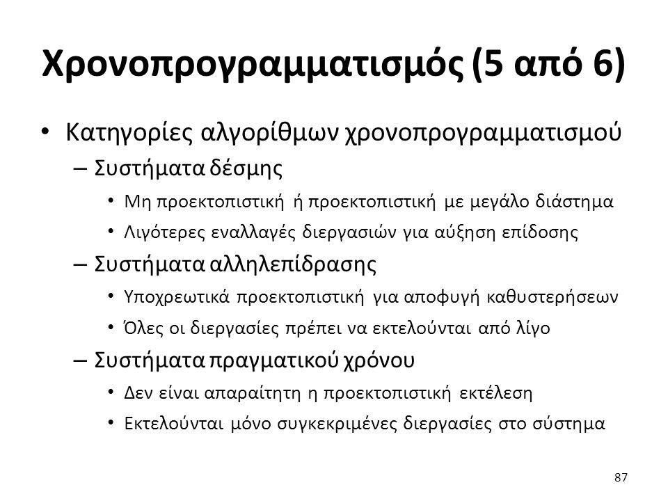 Χρονοπρογραμματισμός (5 από 6) Κατηγορίες αλγορίθμων χρονοπρογραμματισμού – Συστήματα δέσμης Μη προεκτοπιστική ή προεκτοπιστική με μεγάλο διάστημα Λιγ