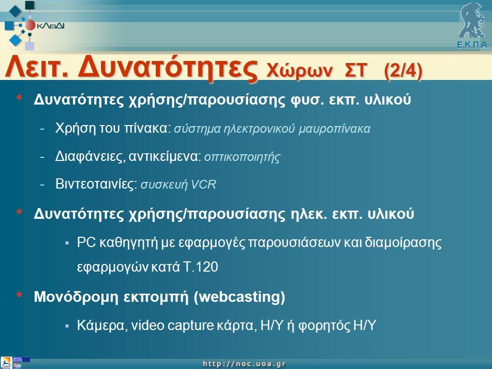 Ε.Κ.Π.Α Λειτ. Δυνατότητες Χώρων ΣΤ (2/4) Δυνατότητες χρήσης/παρουσίασης φυσ.