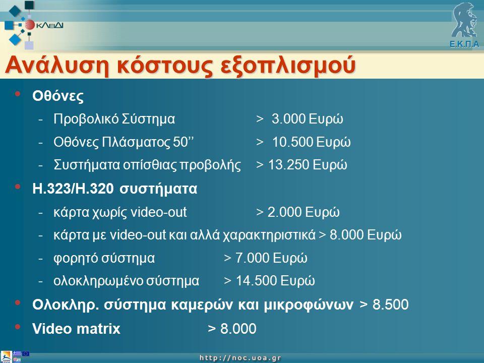 Ε.Κ.Π.Α Ανάλυση κόστους εξοπλισμού Οθόνες -Προβολικό Σύστημα > 3.000 Ευρώ -Οθόνες Πλάσματος 50''> 10.500 Ευρώ -Συστήματα οπίσθιας προβολής > 13.250 Ευρώ Η.323/Η.320 συστήματα -κάρτα χωρίς video-out> 2.000 Ευρώ -κάρτα με video-out και αλλά χαρακτηριστικά > 8.000 Ευρώ -φορητό σύστημα > 7.000 Ευρώ -ολοκληρωμένο σύστημα > 14.500 Ευρώ Ολοκληρ.