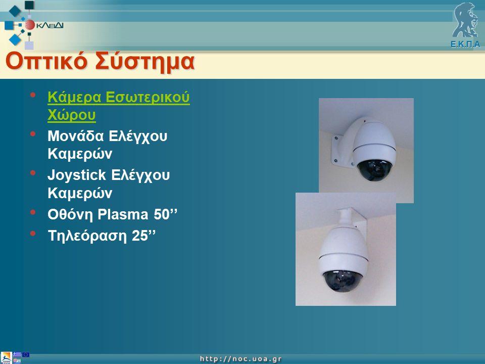 Ε.Κ.Π.Α Οπτικό Σύστημα Κάμερα Εσωτερικού Χώρου Μονάδα Ελέγχου Καμερών Joystick Ελέγχου Καμερών Οθόνη Plasma 50'' Τηλεόραση 25''