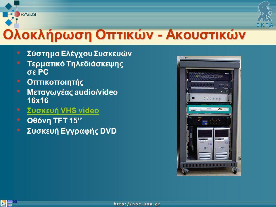 Ε.Κ.Π.Α Ολοκλήρωση Οπτικών - Ακουστικών Σύστημα Ελέγχου Συσκευών Τερματικό Τηλεδιάσκεψης σε PC Οπτικοποιητής Μεταγωγέας audio/video 16x16 Συσκευή VHS video Οθόνη TFT 15'' Συσκευή Εγγραφής DVD
