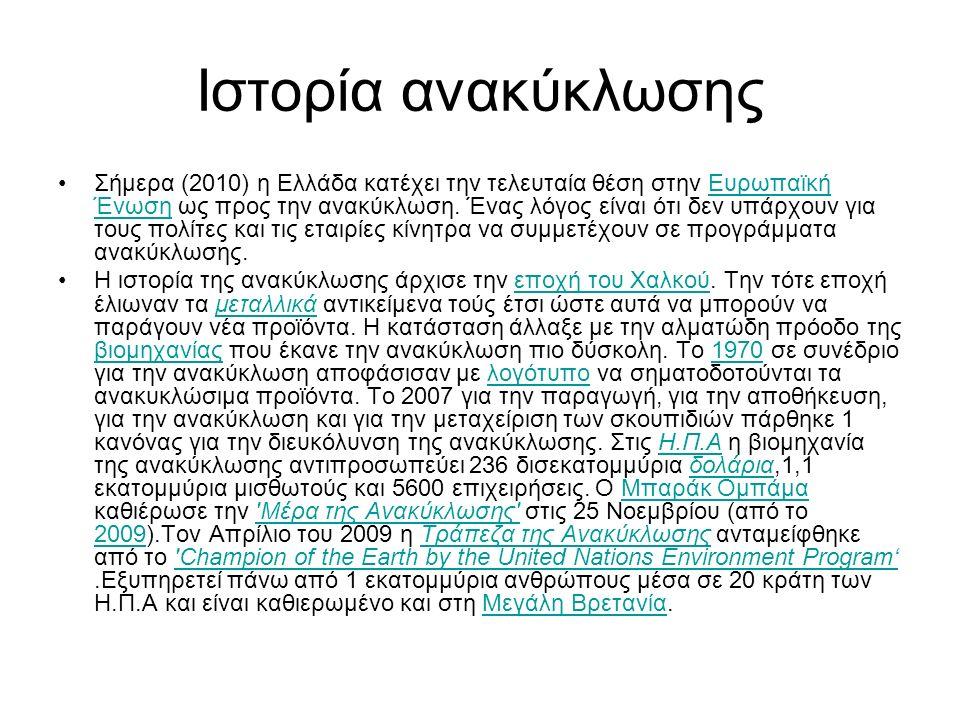 Ιστορία ανακύκλωσης Σήμερα (2010) η Ελλάδα κατέχει την τελευταία θέση στην Ευρωπαϊκή Ένωση ως προς την ανακύκλωση. Ένας λόγος είναι ότι δεν υπάρχουν γ