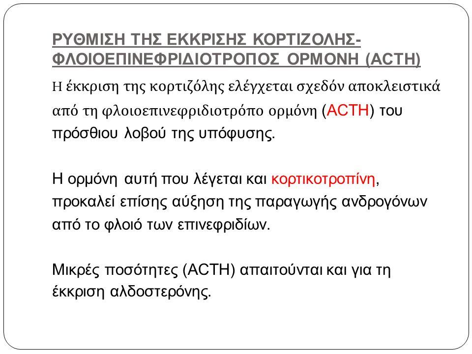 ΡΥΘΜΙΣΗ ΤΗΣ ΕΚΚΡΙΣΗΣ ΚΟΡΤΙΖΟΛΗΣ- ΦΛΟΙΟΕΠΙΝΕΦΡΙΔΙΟΤΡΟΠΟΣ ΟΡΜΟΝΗ (ACTH) H έκκριση της κορτιζόλης ελέγχεται σχεδόν αποκλειστικά από τη φλοιοεπινεφριδιοτρ