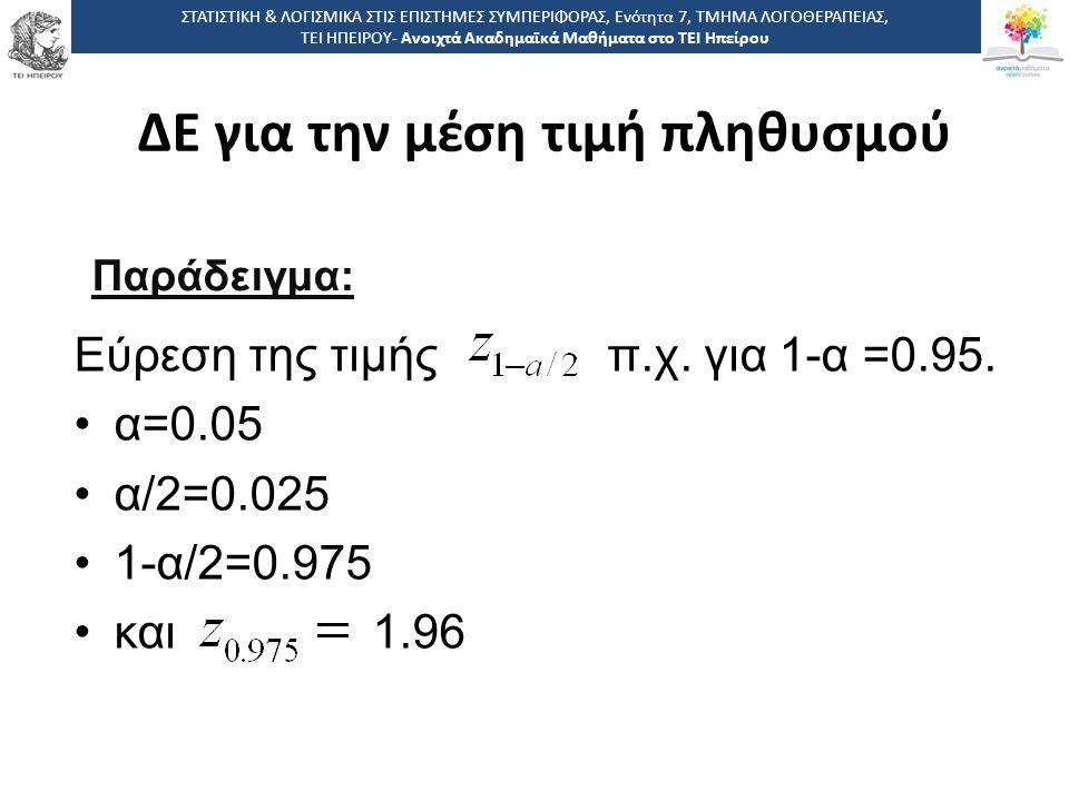 Εύρεση της τιμής π.χ.για 1-α =0.95.