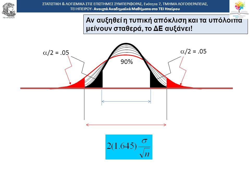 90%  /2 =.05 Αν αυξηθεί η τυπική απόκλιση και τα υπόλοιπα μείνουν σταθερά, το ΔΕ αυξάνει.