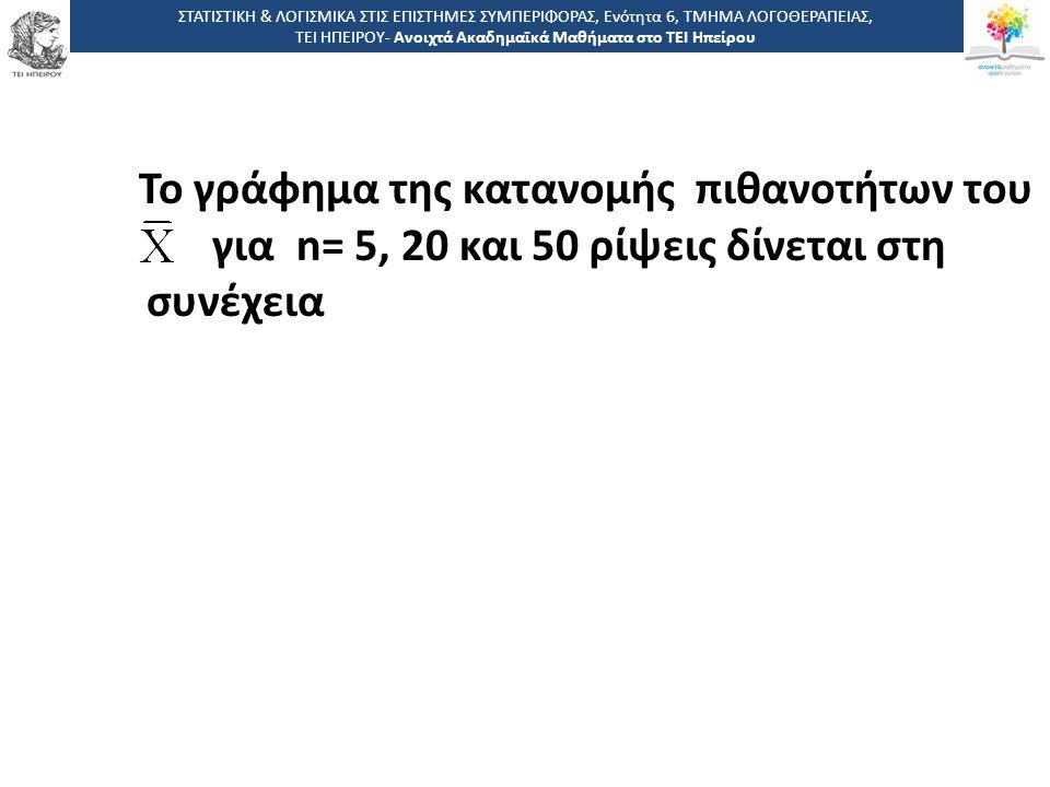 Το γράφημα της κατανομής πιθανοτήτων του για n= 5, 20 και 50 ρίψεις δίνεται στη συνέχεια ΣΤΑΤΙΣΤΙΚΗ & ΛΟΓΙΣΜΙΚΑ ΣΤΙΣ ΕΠΙΣΤΗΜΕΣ ΣΥΜΠΕΡΙΦΟΡΑΣ, Ενότητα 6, ΤΜΗΜΑ ΛΟΓΟΘΕΡΑΠΕΙΑΣ, ΤΕΙ ΗΠΕΙΡΟΥ- Ανοιχτά Ακαδημαϊκά Μαθήματα στο ΤΕΙ Ηπείρου