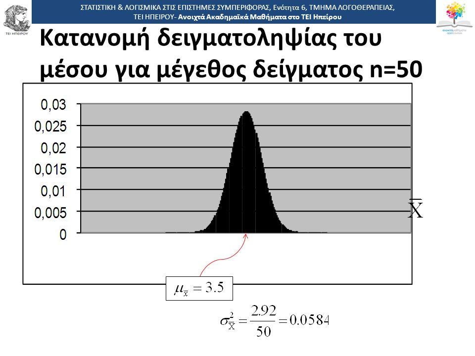 Κατανομή δειγματοληψίας του μέσου για μέγεθος δείγματος n=50 ΣΤΑΤΙΣΤΙΚΗ & ΛΟΓΙΣΜΙΚΑ ΣΤΙΣ ΕΠΙΣΤΗΜΕΣ ΣΥΜΠΕΡΙΦΟΡΑΣ, Ενότητα 6, ΤΜΗΜΑ ΛΟΓΟΘΕΡΑΠΕΙΑΣ, ΤΕΙ Η