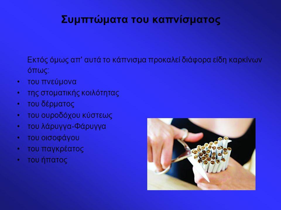 Συμπτώματα του καπνίσματος Εκτός όμως απ' αυτά το κάπνισμα προκαλεί διάφορα είδη καρκίνων όπως: του πνεύμονα της στοματικής κοιλότητας του δέρματος το