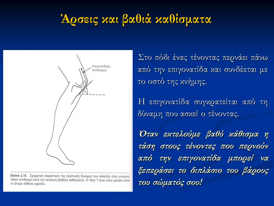 Άρσεις και βαθιά καθίσματα Στο πόδι ένας τένοντας περνάει πάνω από την επιγονατίδα και συνδέεται με το οστό της κνήμης.