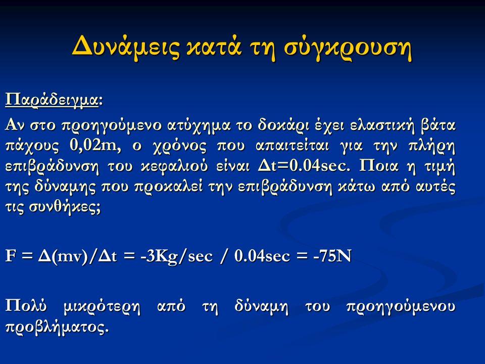 Δυνάμεις κατά τη σύγκρουση Παράδειγμα: Αν στο προηγούμενο ατύχημα το δοκάρι έχει ελαστική βάτα πάχους 0,02m, ο χρόνος που απαιτείται για την πλήρη επιβράδυνση του κεφαλιού είναι Δt=0.04sec.