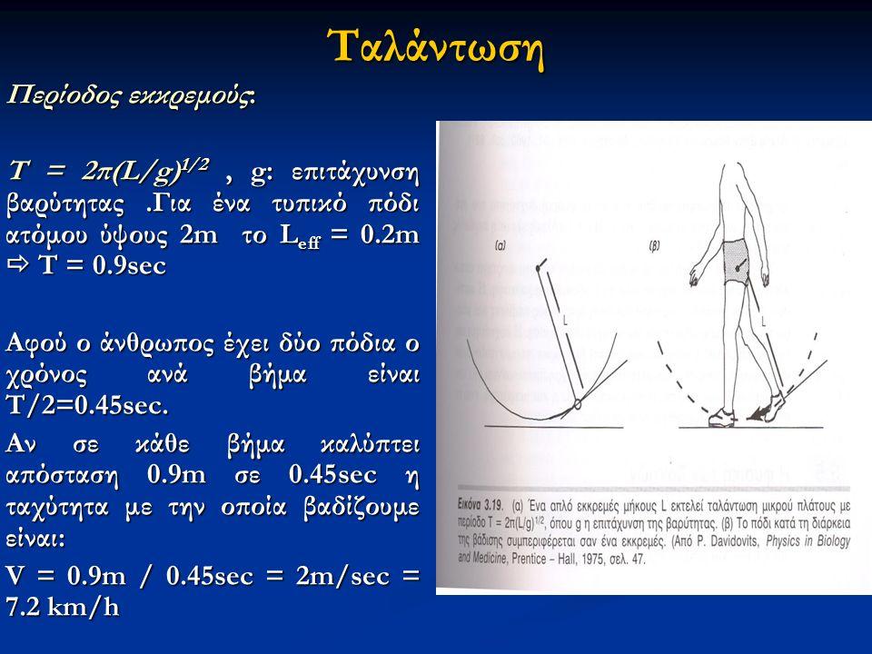 Ταλάντωση Περίοδος εκκρεμούς: Τ = 2π(L/g) 1/2, g: επιτάχυνση βαρύτητας.Για ένα τυπικό πόδι ατόμου ύψους 2m το L eff = 0.2m  T = 0.9sec Αφού ο άνθρωπος έχει δύο πόδια ο χρόνος ανά βήμα είναι Τ/2=0.45sec.