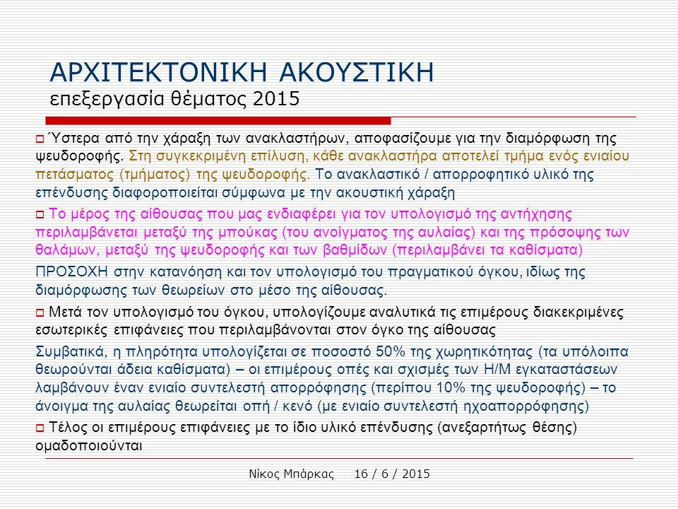 Νίκος Μπάρκας 16 / 6 / 2015 ΑΡΧΙΤΕΚΤΟΝΙΚΗ ΑΚΟΥΣΤΙΚΗ επεξεργασία θέματος 2015  Ύστερα από την χάραξη των ανακλαστήρων, αποφασίζουμε για την διαμόρφωση