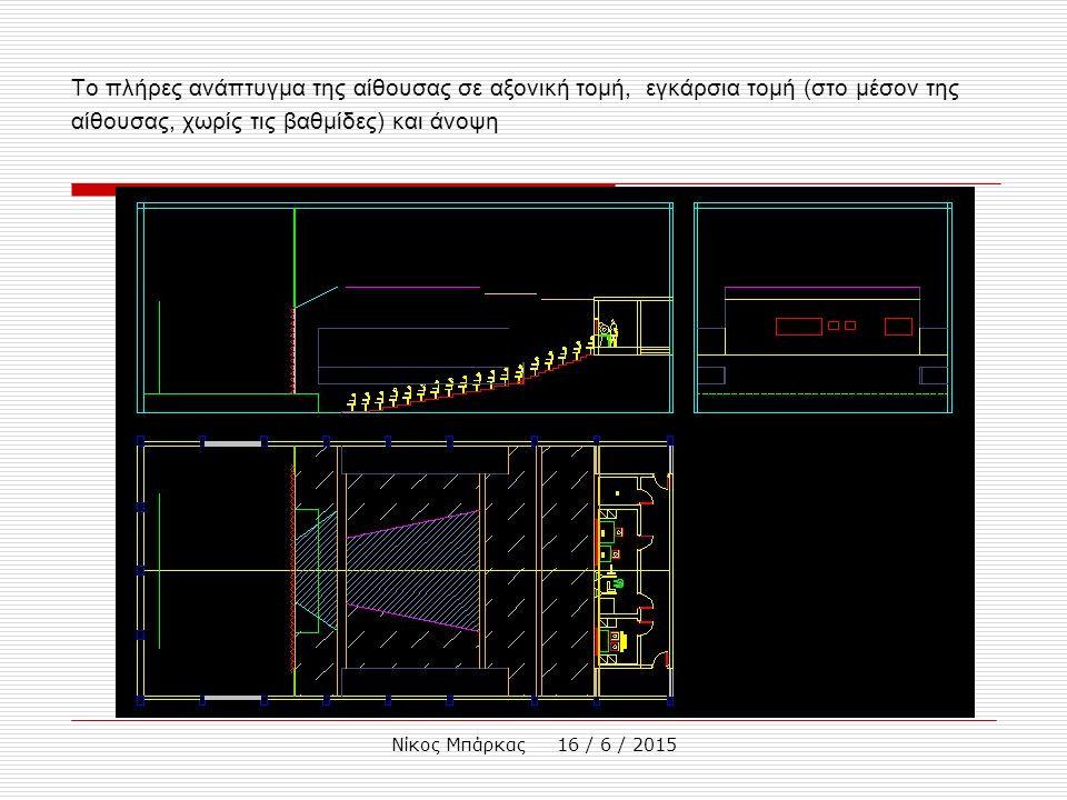 Νίκος Μπάρκας 16 / 6 / 2015 Το πλήρες ανάπτυγμα της αίθουσας σε αξονική τομή, εγκάρσια τομή (στο μέσον της αίθουσας, χωρίς τις βαθμίδες) και άνοψη