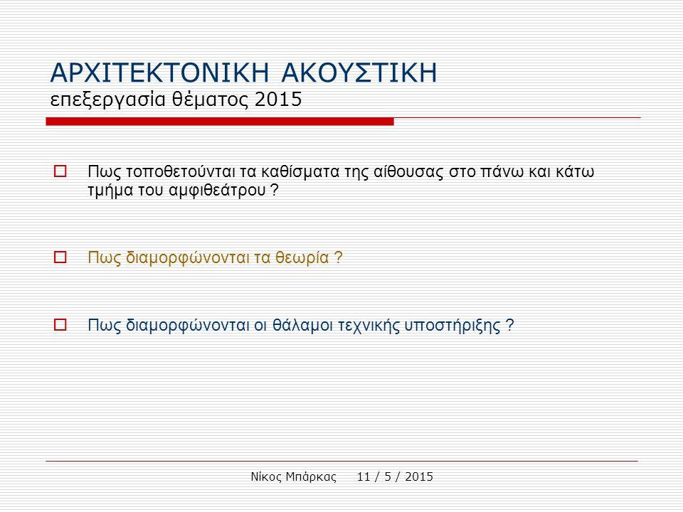 Νίκος Μπάρκας 11 / 5 / 2015 1.