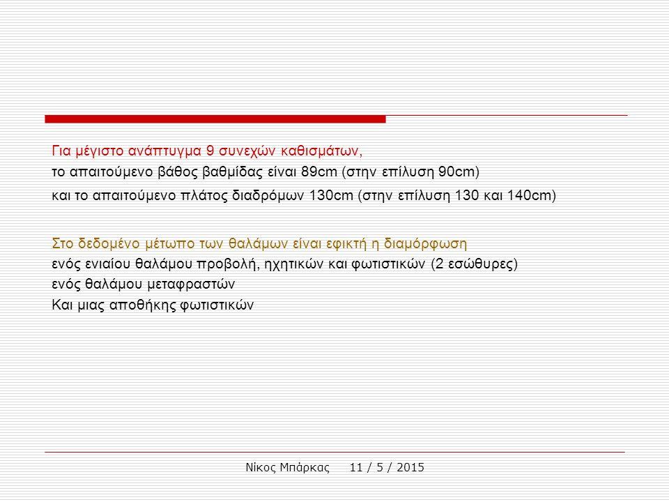 Νίκος Μπάρκας 11 / 5 / 2015 Για μέγιστο ανάπτυγμα 9 συνεχών καθισμάτων, το απαιτούμενο βάθος βαθμίδας είναι 89cm (στην επίλυση 90cm) και το απαιτούμενο πλάτος διαδρόμων 130cm (στην επίλυση 130 και 140cm) Στο δεδομένο μέτωπο των θαλάμων είναι εφικτή η διαμόρφωση ενός ενιαίου θαλάμου προβολή, ηχητικών και φωτιστικών (2 εσώθυρες) ενός θαλάμου μεταφραστών Και μιας αποθήκης φωτιστικών