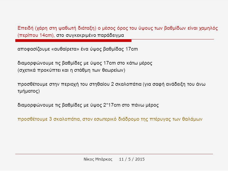 Νίκος Μπάρκας 11 / 5 / 2015 Επειδή (χάρη στη ψαθωτή διάταξη) ο μέσος όρος του ύψους των βαθμίδων είναι χαμηλός (περίπου 14cm), στο συγκεκριμένο παράδε