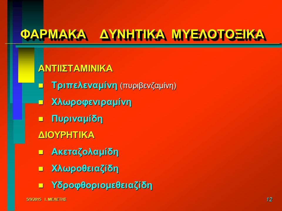 5/9/2015 Ι. ΜΕΛΕΤΗΣ 12 ΦΑΡΜΑΚΑ ΔΥΝΗΤΙΚΑ ΜΥΕΛΟΤΟΞΙΚΑ ΑΝΤΙΙΣΤΑΜΙΝΙΚΑ n Τριπελεναμίνη (πυριβενζαμίνη) n Χλωροφενιραμίνη n Πυριναμίδη ΔΙΟΥΡΗΤΙΚΑ n Ακεταζο