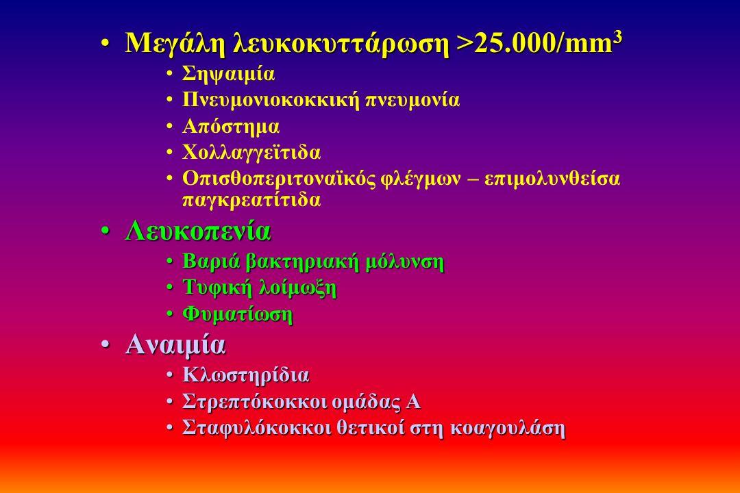 Μεγάλη λευκοκυττάρωση >25.000/mm 3Μεγάλη λευκοκυττάρωση >25.000/mm 3 Σηψαιμία Πνευμονιοκοκκική πνευμονία Απόστημα Χολλαγγεϊτιδα Οπισθοπεριτοναϊκός φλέ