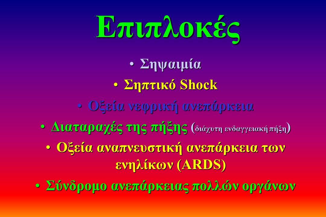 Επιπλοκές ΣηψαιμίαΣηψαιμία Σηπτικό ShockΣηπτικό Shock Οξεία νεφρική ανεπάρκειαΟξεία νεφρική ανεπάρκεια Διαταραχές της πήξης ( διάχυτη ενδαγγειακή πήξη
