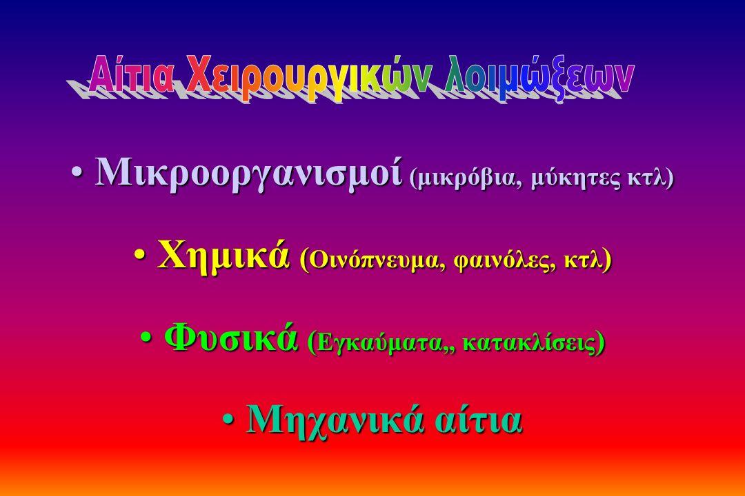 Μικροοργανισμοί (μικρόβια, μύκητες κτλ)Μικροοργανισμοί (μικρόβια, μύκητες κτλ) Χημικά ( Οινόπνευμα, φαινόλες, κτλ )Χημικά ( Οινόπνευμα, φαινόλες, κτλ