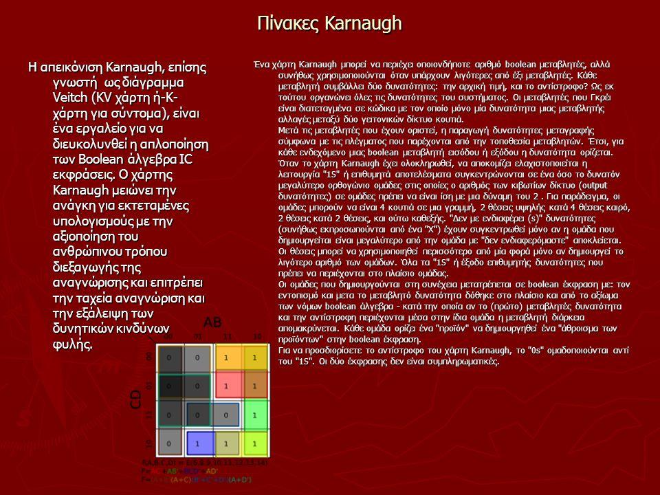 Πίνακες Karnaugh Η απεικόνιση Karnaugh, επίσης γνωστή ως διάγραμμα Veitch (KV χάρτη ή-Κ- χάρτη για σύντομα), είναι ένα εργαλείο για να διευκολυνθεί η