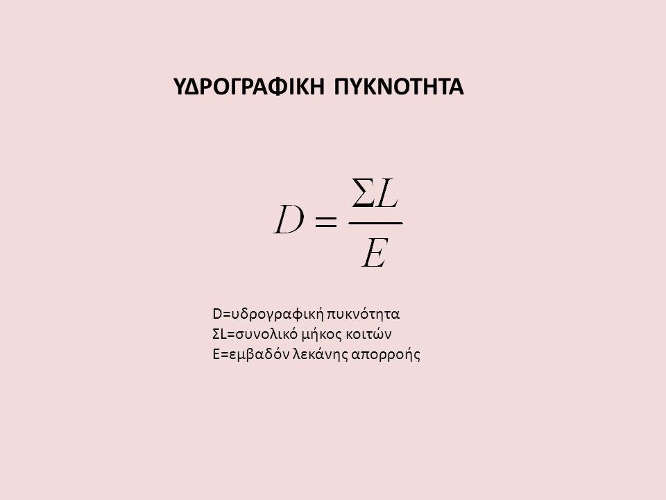 ΥΔΡΟΓΡΑΦΙΚΗ ΠΥΚΝΟΤΗΤΑ D=υδρογραφική πυκνότητα ΣL=συνολικό μήκος κοιτών Ε=εμβαδόν λεκάνης απορροής