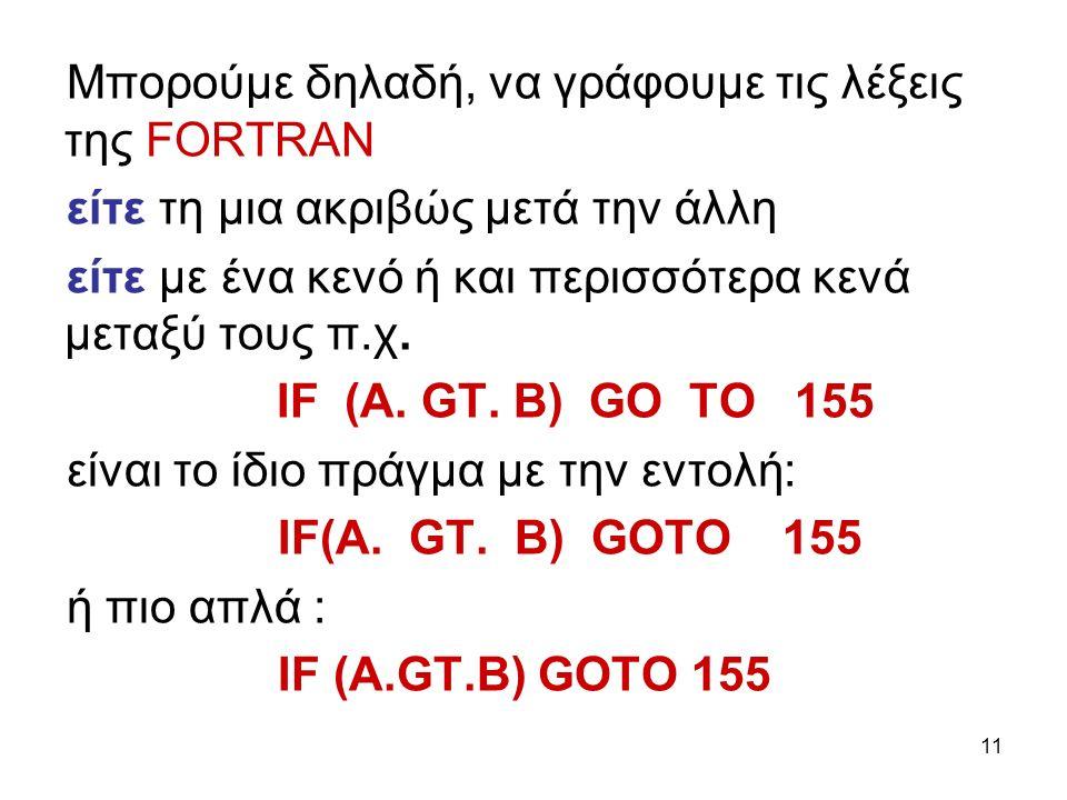 11 Μπορούμε δηλαδή, να γράφουμε τις λέξεις της FΟRΤRΑΝ είτε τη μια ακριβώς μετά την άλλη είτε με ένα κενό ή και περισσότερα κενά μεταξύ τους π.χ.