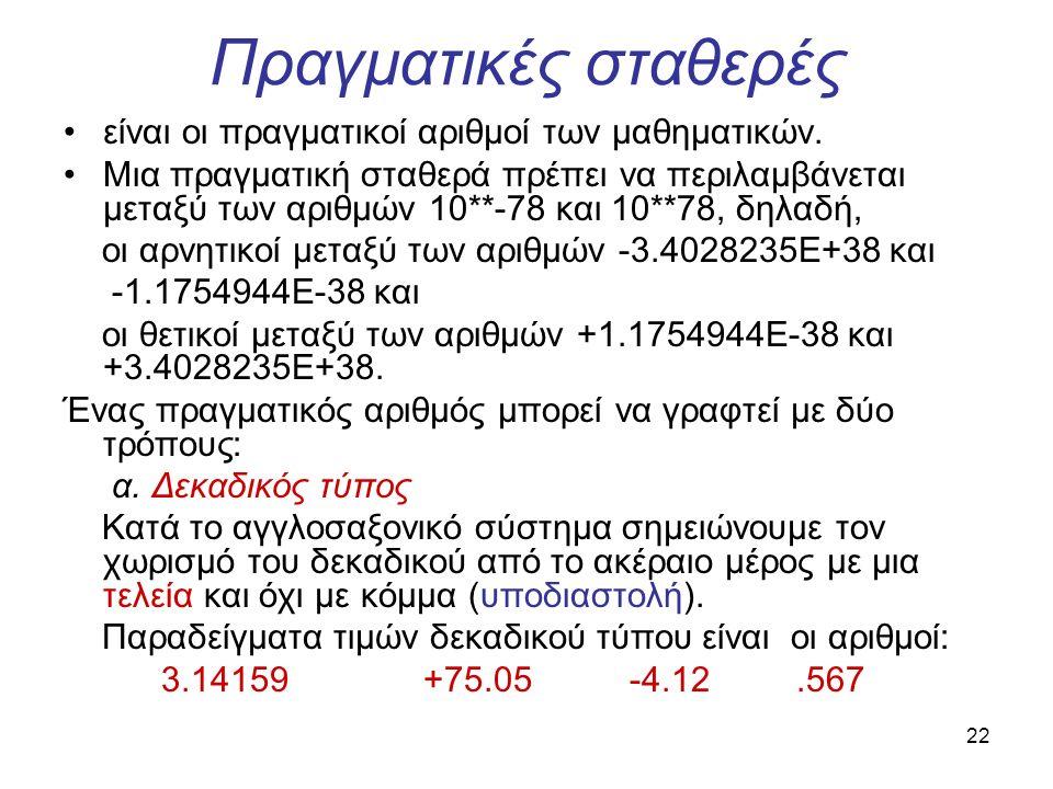 22 Πραγματικές σταθερές είναι οι πραγματικοί αριθμοί των μαθηματικών.