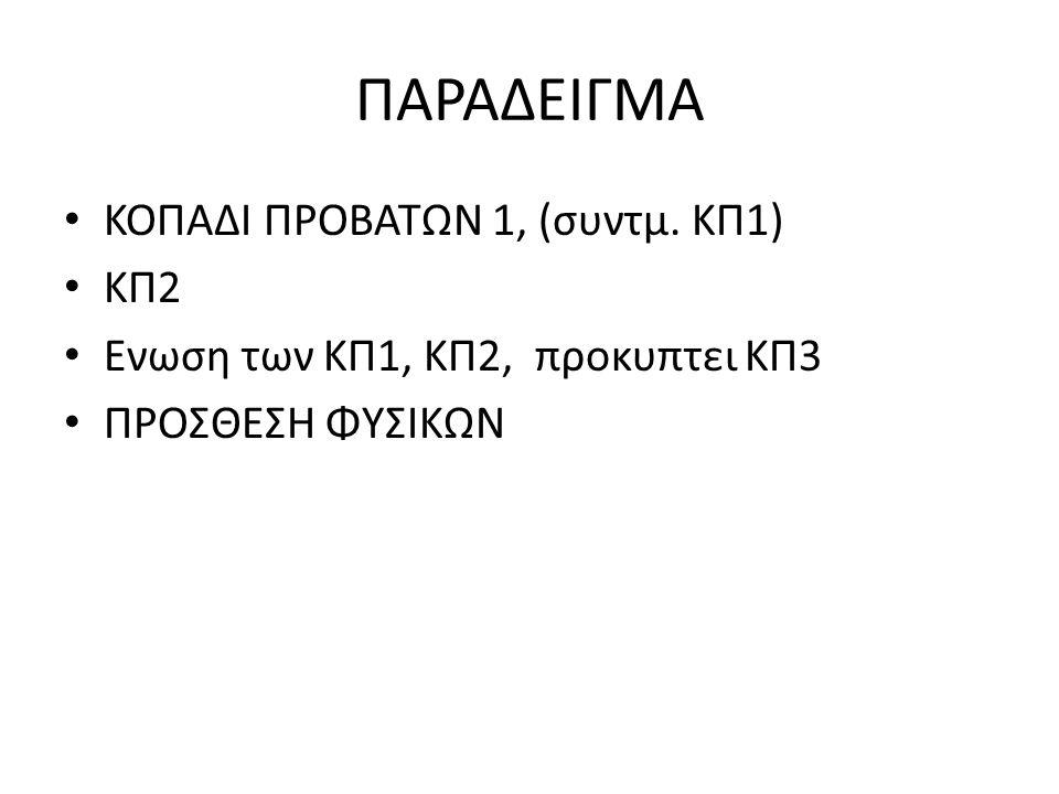 ΠΑΡΑΔΕΙΓΜΑ ΚΟΠΑΔΙ ΠΡΟΒΑΤΩΝ 1, (συντμ. ΚΠ1) ΚΠ2 Ενωση των ΚΠ1, ΚΠ2, προκυπτει ΚΠ3 ΠΡΟΣΘΕΣΗ ΦΥΣΙΚΩΝ