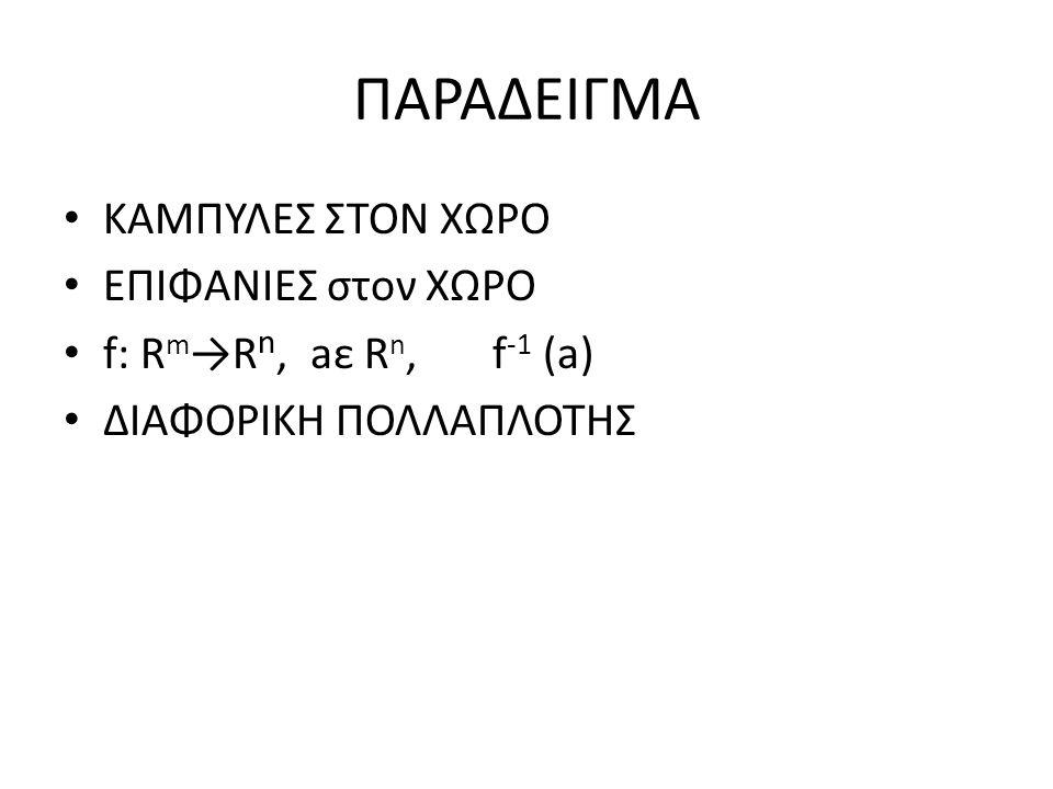 ΠΑΡΑΔΕΙΓΜΑ ΚΑΜΠΥΛΕΣ ΣΤΟΝ ΧΩΡΟ ΕΠΙΦΑΝΙΕΣ στον ΧΩΡΟ f: R m →R n, aε R n, f -1 (a) ΔΙΑΦΟΡΙΚΗ ΠΟΛΛΑΠΛΟΤΗΣ