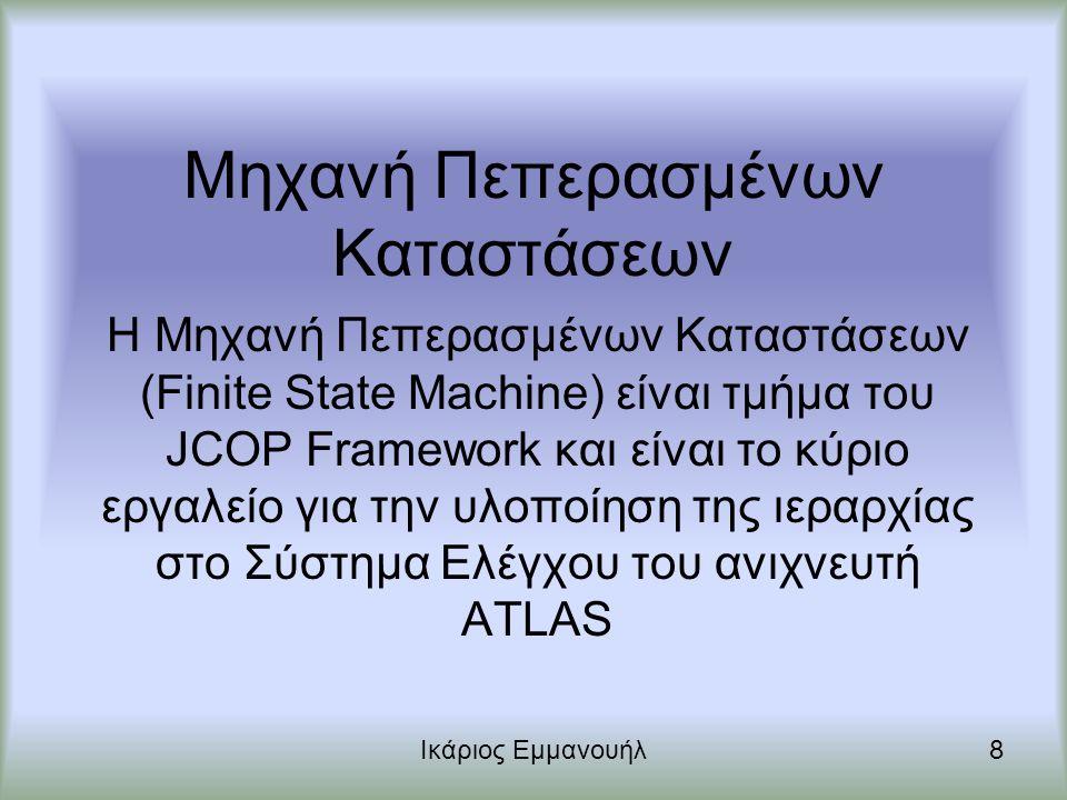 Μηχανή Πεπερασμένων Καταστάσεων Ικάριος Εμμανουήλ9 Μηχανή Πεπερασμένων Καταστάσεων (FSM) είναι ένα μοντέλο συμπεριφοράς, αποτελούμενο από πεπερασμένο αριθμό καταστάσεων, μεταβάσεων ανάμεσα σε αυτές τις καταστάσεις και εντολών.