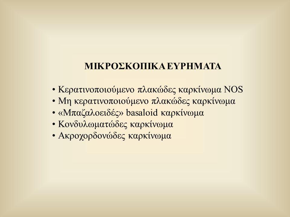 ΜΙΚΡΟΣΚΟΠΙΚΑ ΕΥΡΗΜΑΤΑ Κερατινοποιούμενο πλακώδες καρκίνωμα NOS Μη κερατινοποιούμενο πλακώδες καρκίνωμα «Μπαζαλοειδές» basaloid καρκίνωμα Κονδυλωματώδε