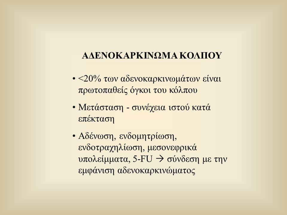 ΑΔΕΝΟΚΑΡΚΙΝΩΜΑ ΚΟΛΠΟΥ <20% των αδενοκαρκινωμάτων είναι πρωτοπαθείς όγκοι του κόλπου Μετάσταση - συνέχεια ιστού κατά επέκταση Αδένωση, ενδομητρίωση, εν