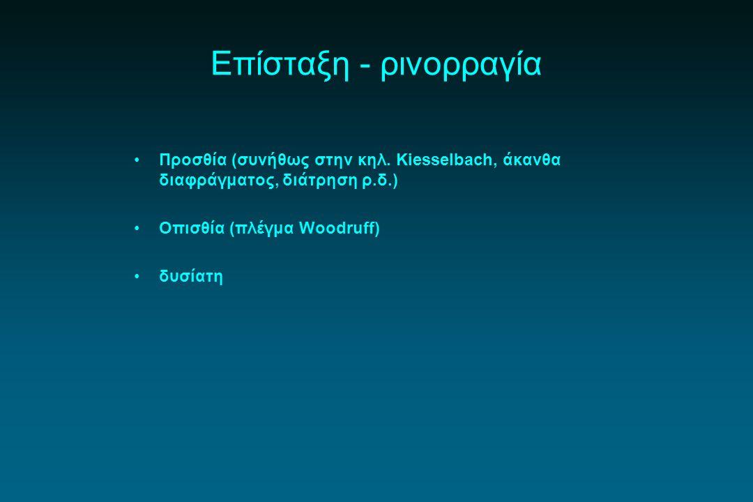 Επίσταξη - ρινορραγία Προσθία (συνήθως στην κηλ. Kiesselbach, άκανθα διαφράγματος, διάτρηση ρ.δ.) Οπισθία (πλέγμα Woodruff) δυσίατη