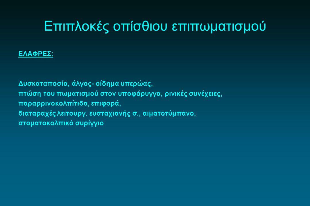 Επιπλοκές οπίσθιου επιπωματισμού ΕΛΑΦΡΕΣ: Δυσκαταποσία, άλγος- οίδημα υπερώας, πτώση του πωματισμού στον υποφάρυγγα, ρινικές συνέχειες, παραρρινοκολπί