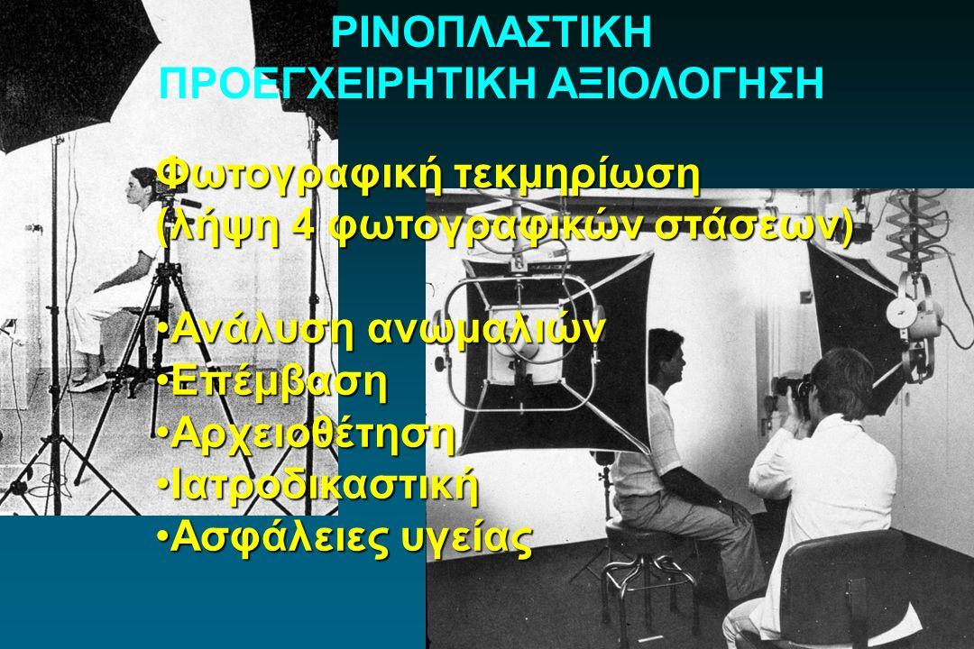 ΡΙΝΟΠΛΑΣΤΙΚΗ ΠΡΟΕΓΧΕΙΡΗΤΙΚΗ ΑΞΙΟΛΟΓΗΣΗ Φωτογραφική τεκμηρίωση (λήψη 4 φωτογραφικών στάσεων) Ανάλυση ανωμαλιώνΑνάλυση ανωμαλιών ΕπέμβασηΕπέμβαση Αρχειο