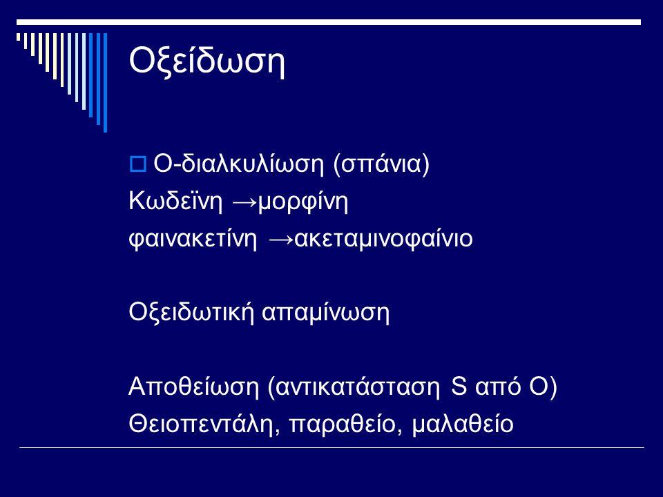 Οξείδωση  Ο-διαλκυλίωση (σπάνια) Κωδεϊνη →μορφίνη φαινακετίνη →ακεταμινοφαίνιο Οξειδωτική απαμίνωση Αποθείωση (αντικατάσταση S από Ο) Θειοπεντάλη, πα